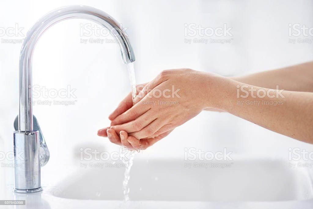 Halte deine Hände reinigen - Lizenzfrei Badezimmer Stock-Foto