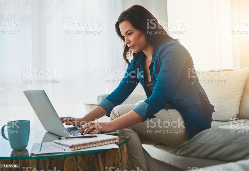 Keeping her blog relevant stock photo
