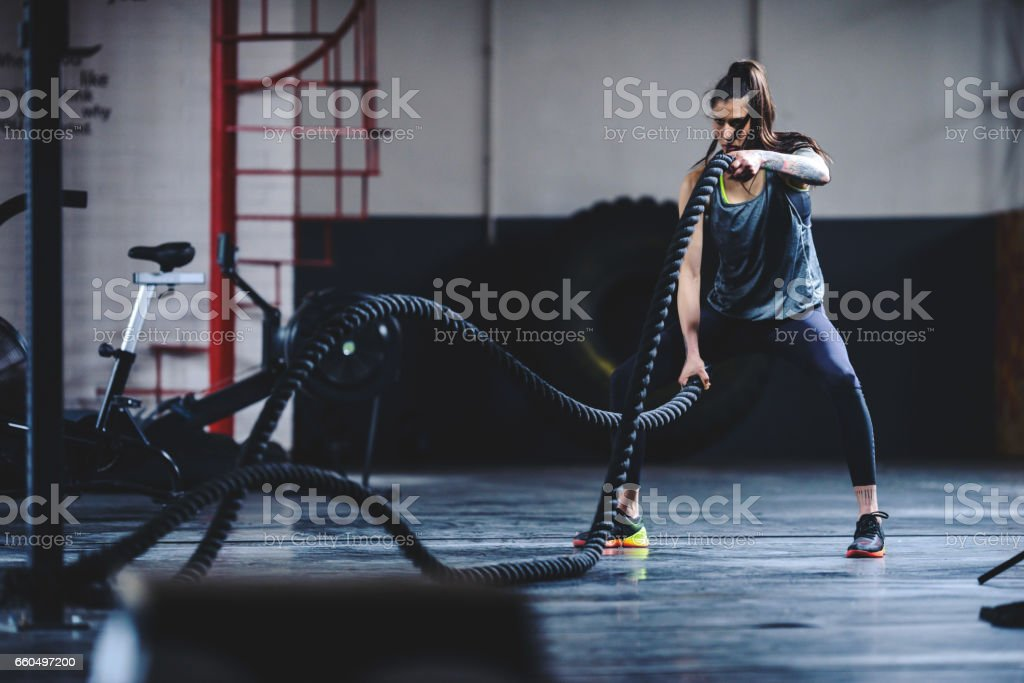 Keeping her body in perfect shape stock photo
