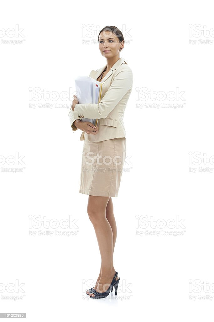 Keeping her paperwork close royalty-free stock photo
