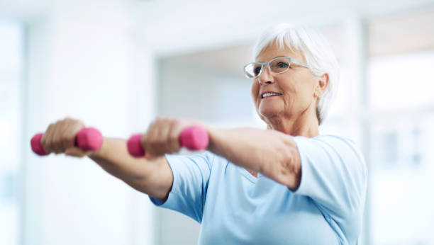 Keeping herself fit and healthy in her latter years stock photo