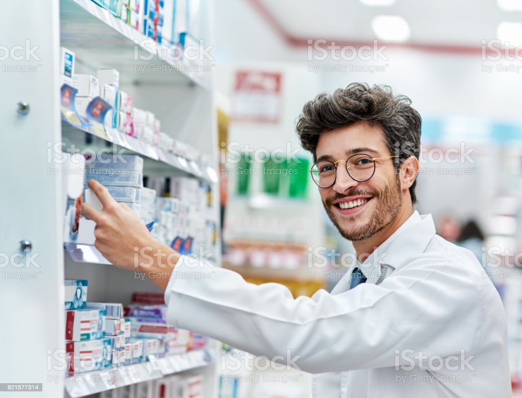 Keeping his shelves well-stocked stock photo
