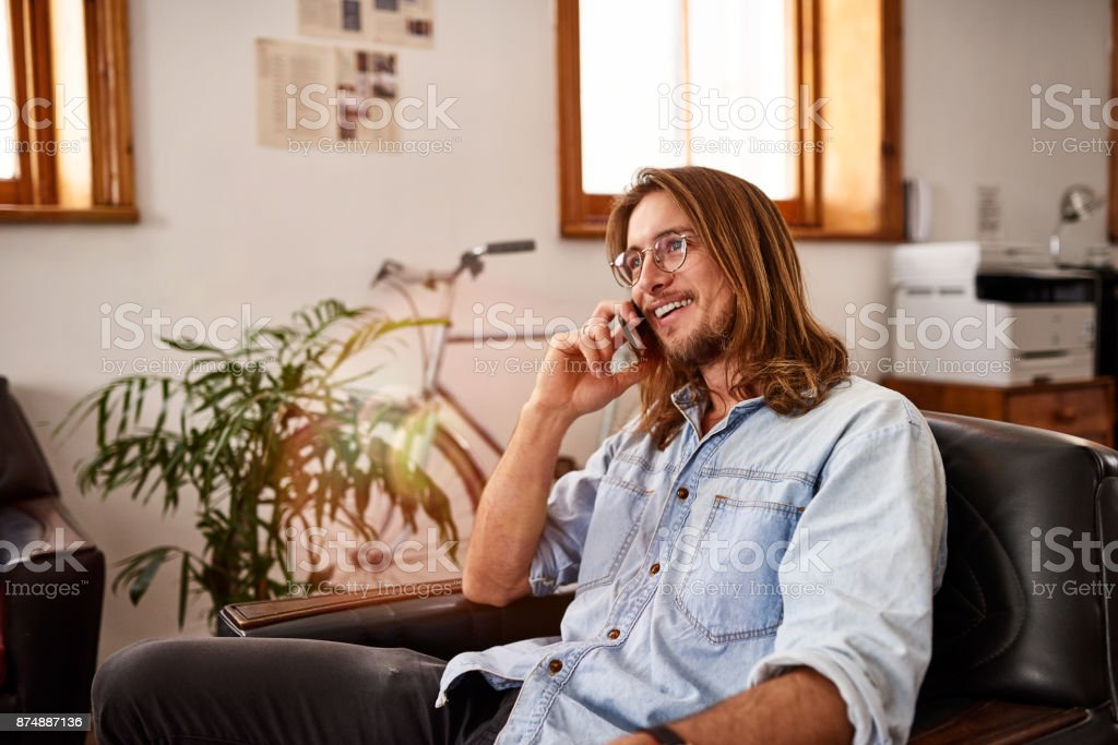 Keeping in touch with all his clients stock photo