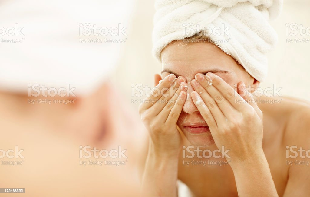 Keeping my skin clean stock photo