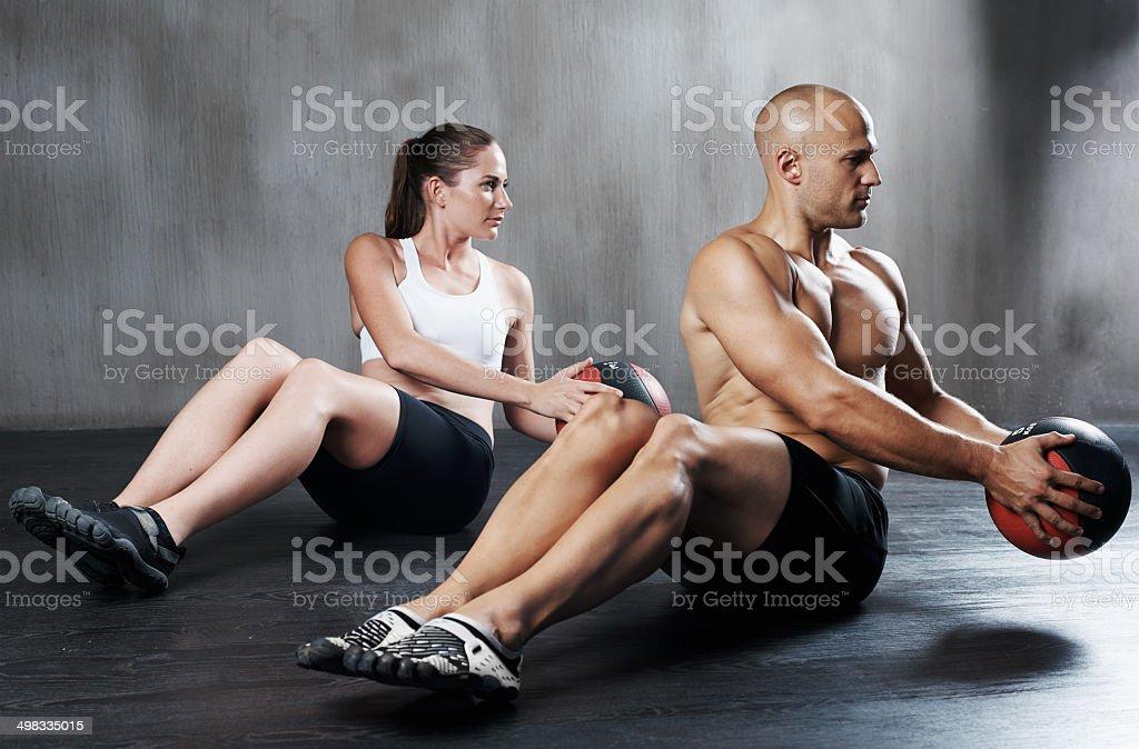 Keeping their routine synchronized stock photo