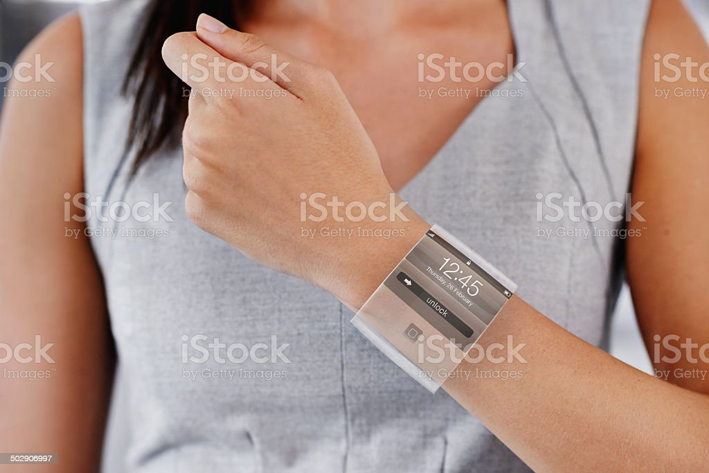 Keeping up with technology stock photo