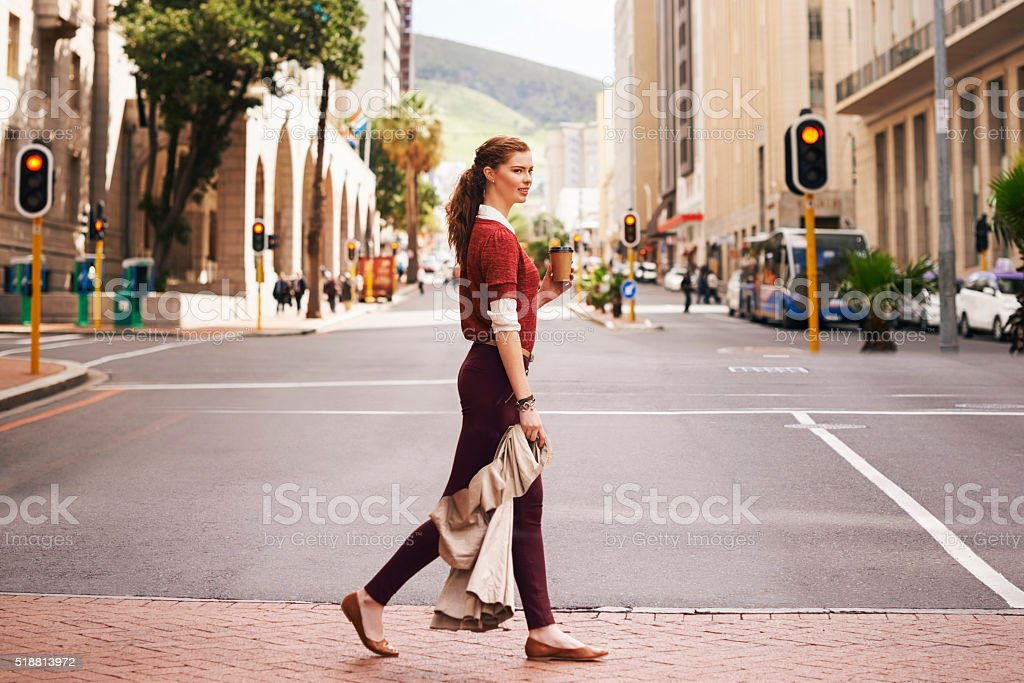 Keeping up with the pace of the city stock photo