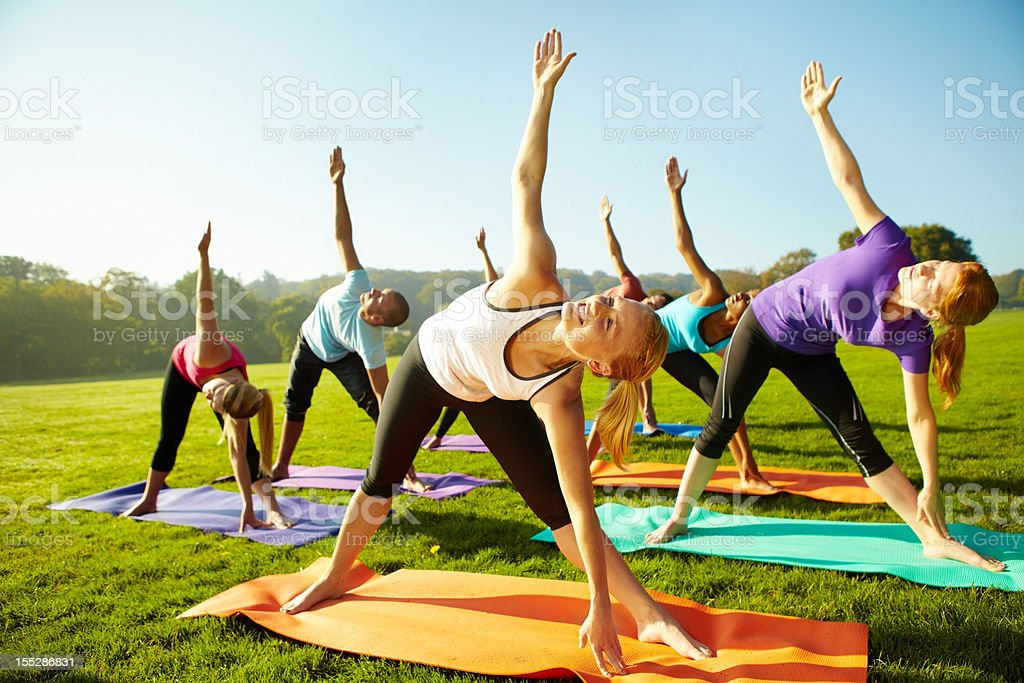 Keeping up with their health - Yoga stock photo