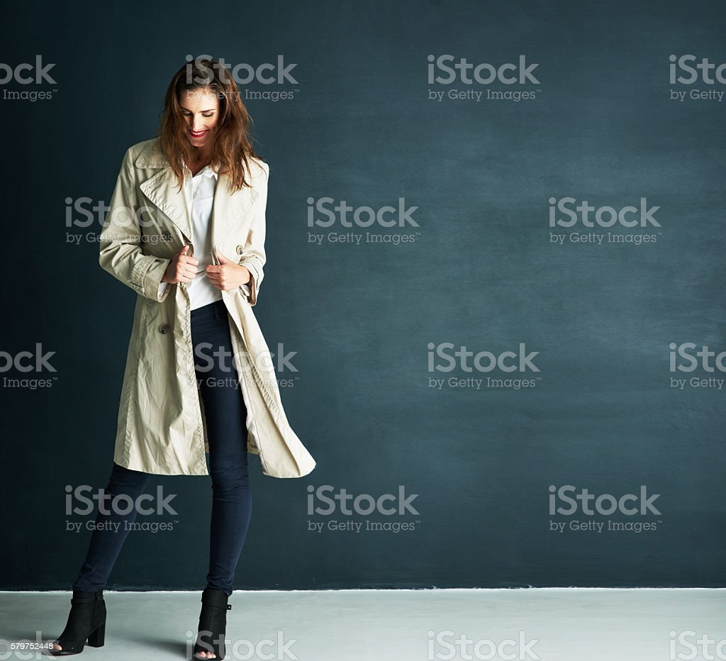 Keeping warm in style stock photo