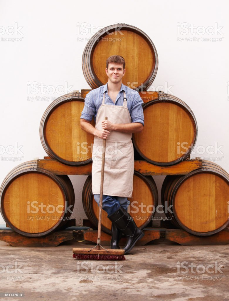 Keepng his cellar spick and span royalty-free stock photo