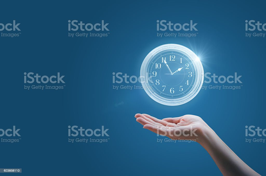 Keeps the watch in the palm, stock photo
