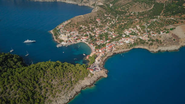 Kefalonia Asos Greece Aerial picture stock photo