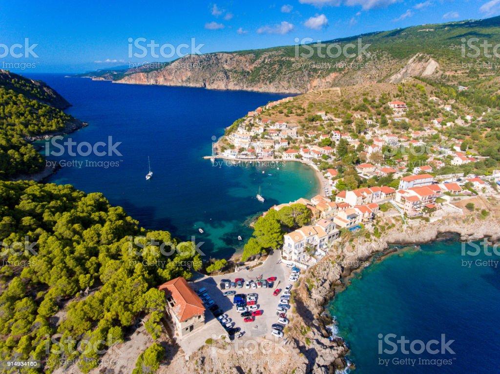 Kefalonia Assos Village aerial view panorama stock photo