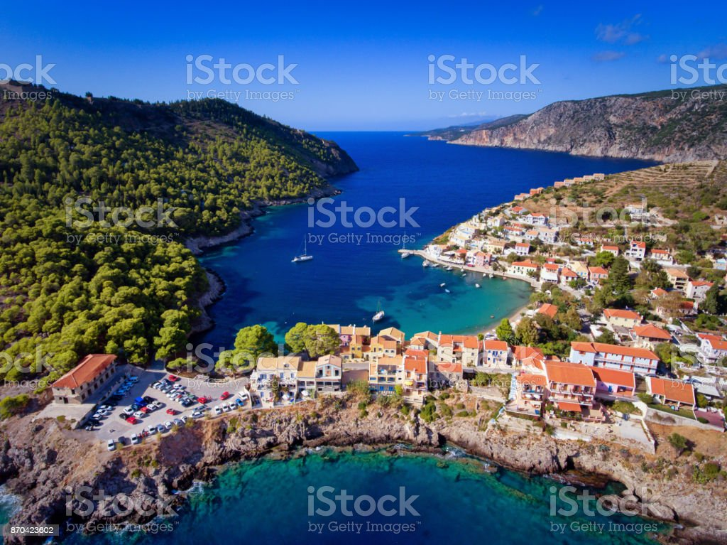 Kefalonia Assos (Asos) Village in Greece aerial photography from a drone stock photo