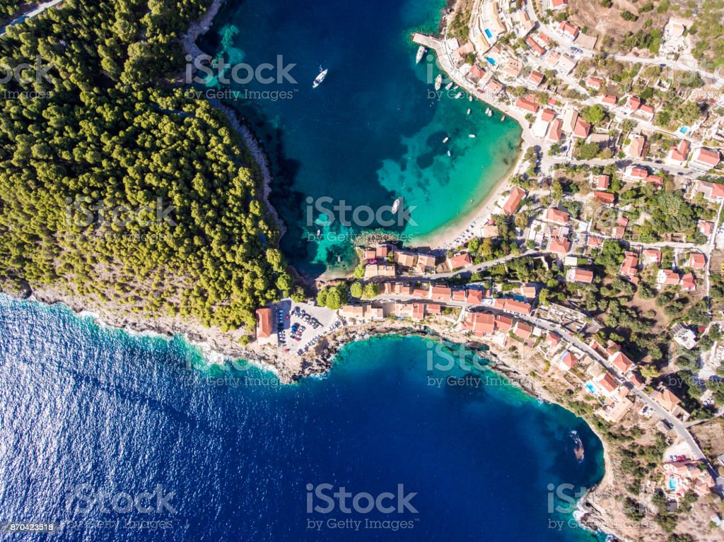 Kefalonia Assos Village in Greece as seen from above stock photo
