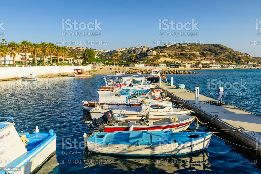 Kefalos village with traditional fishing boats - Royalty-free Aegean Sea Stock Photo