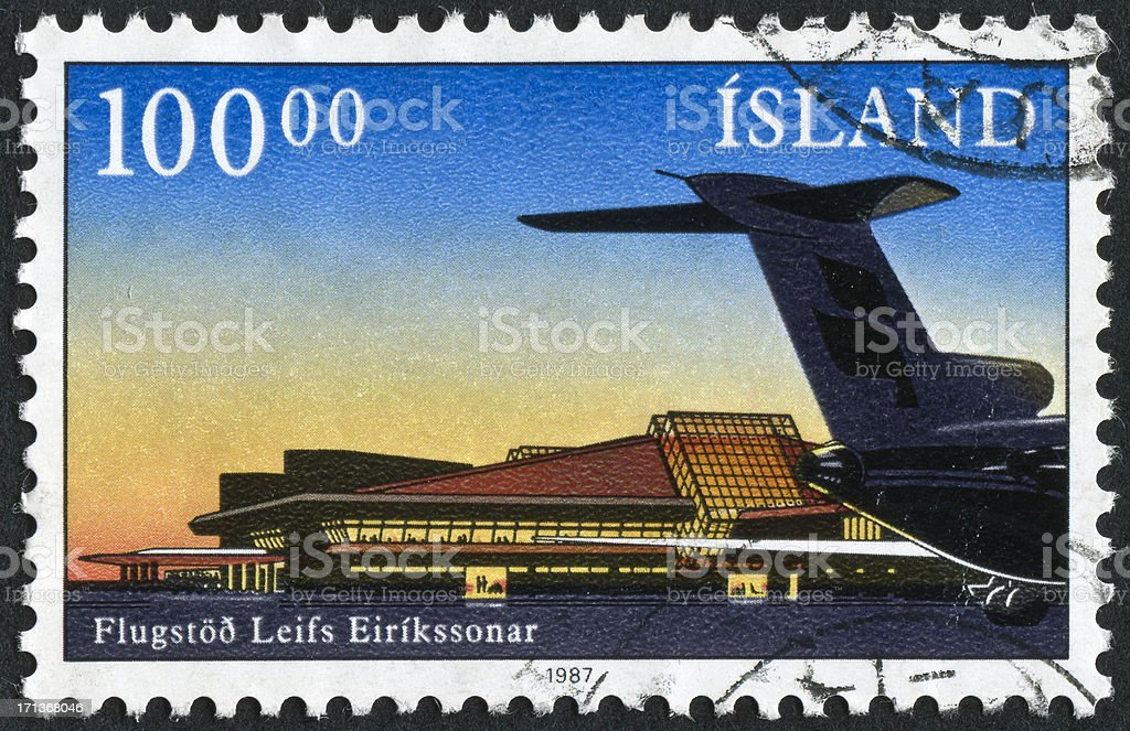 Keflavik Airport In Iceland Stamp stock photo
