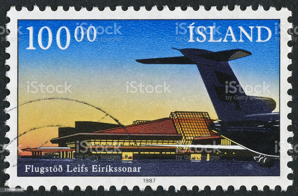 Keflavik Airport In Iceland Stamp. stock photo