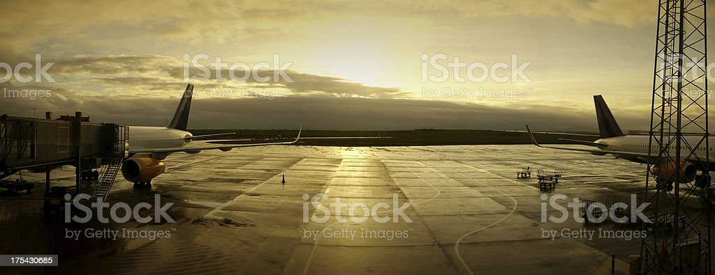 Keflavik Airport (Iceland) in the Morning Sun stock photo