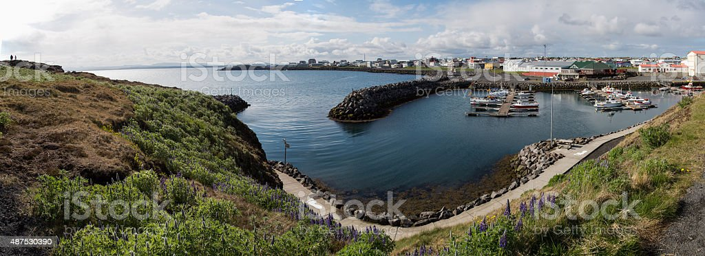 Keflavik Harbour Springtime Panorama stock photo