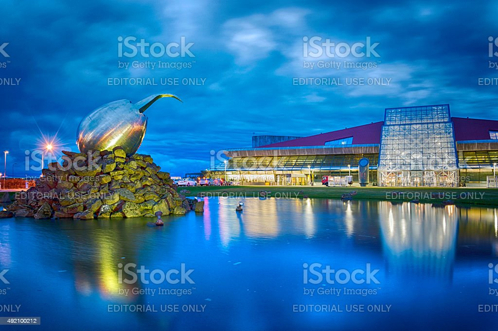 Keflavik International Airport Terminal and the Nest Jet art sculpture stock photo