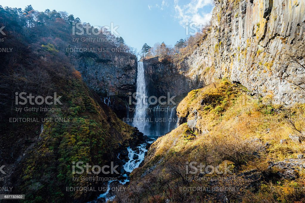 Kegon Falls and Autumn Leaves stock photo