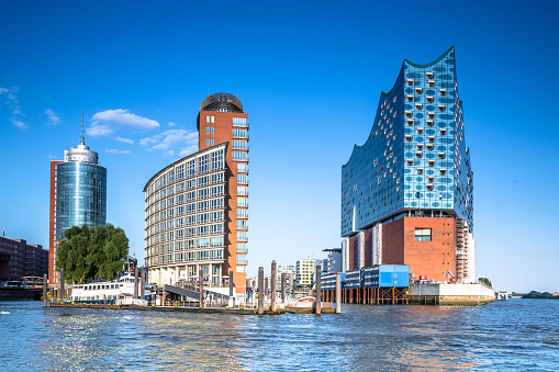 Kehrwiederspitze and Elbphilharmonie in the modern HafenCity of Hamburg