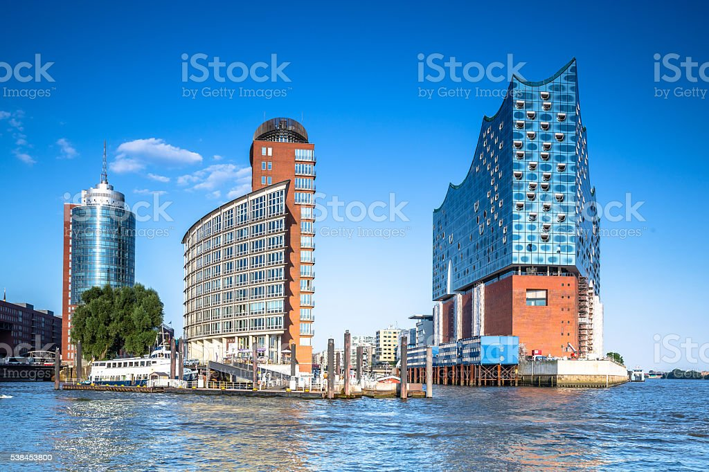 Kehrwiederspitze and Elbphilharmonie in the modern HafenCity of Hamburg stock photo