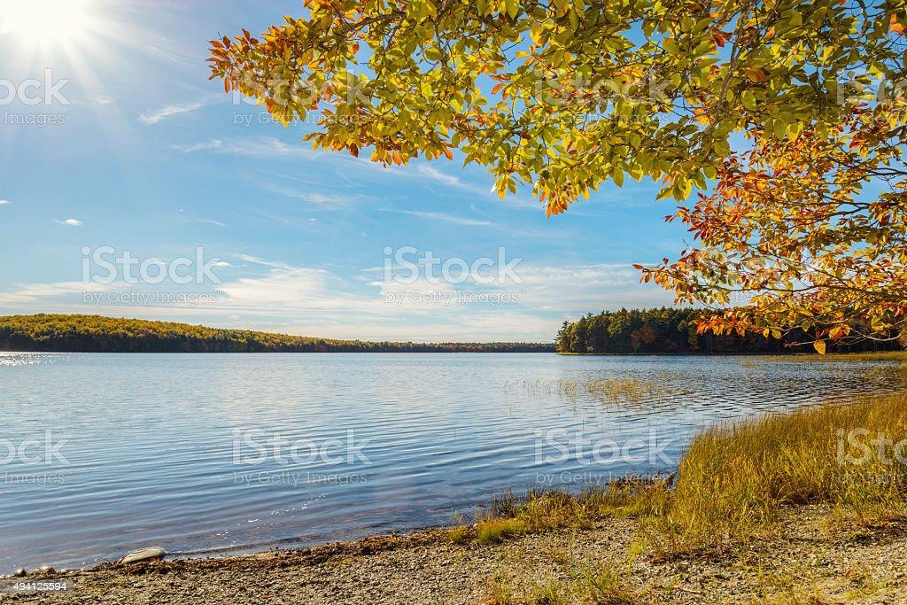 Kejimkujik lake in fall from Jeremy Bay Campground stock photo