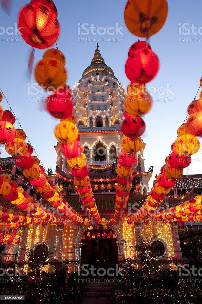 kek lok si temple illuminated chinese lanterns royalty-free stock photo
