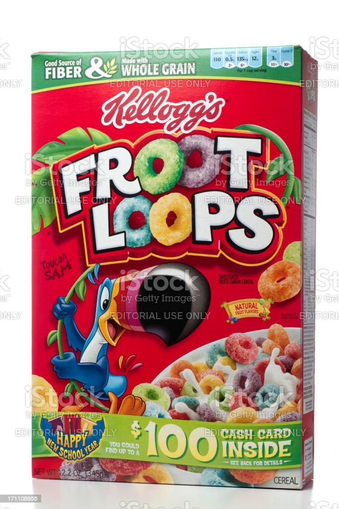 Kellogg's Froot Loops Cereal stock photo
