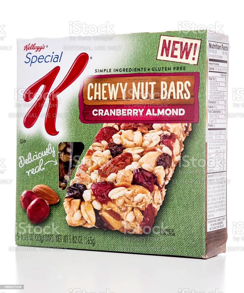 Kellogg's NEW chewy nut bars cranberry almond box stock photo