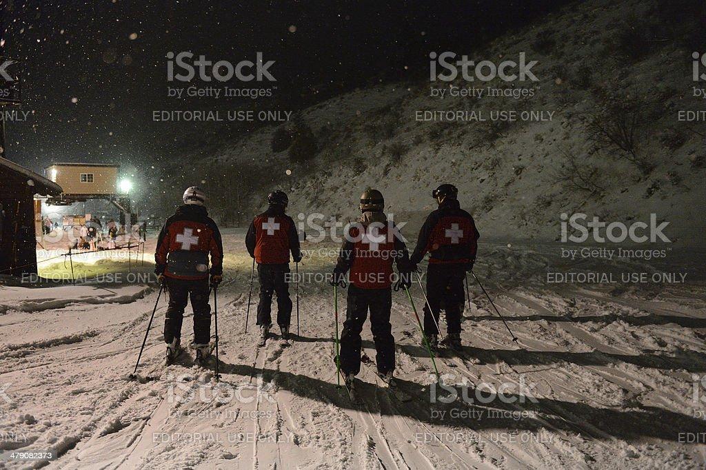 Kelly Canyon Ski Patrol Making Night Rounds At the Resort stock photo