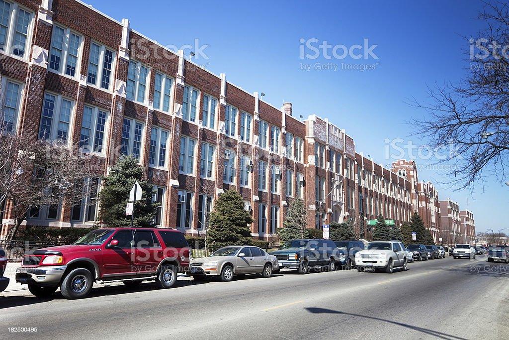 Kelly High School in Brighton Park, Chicago royalty-free stock photo