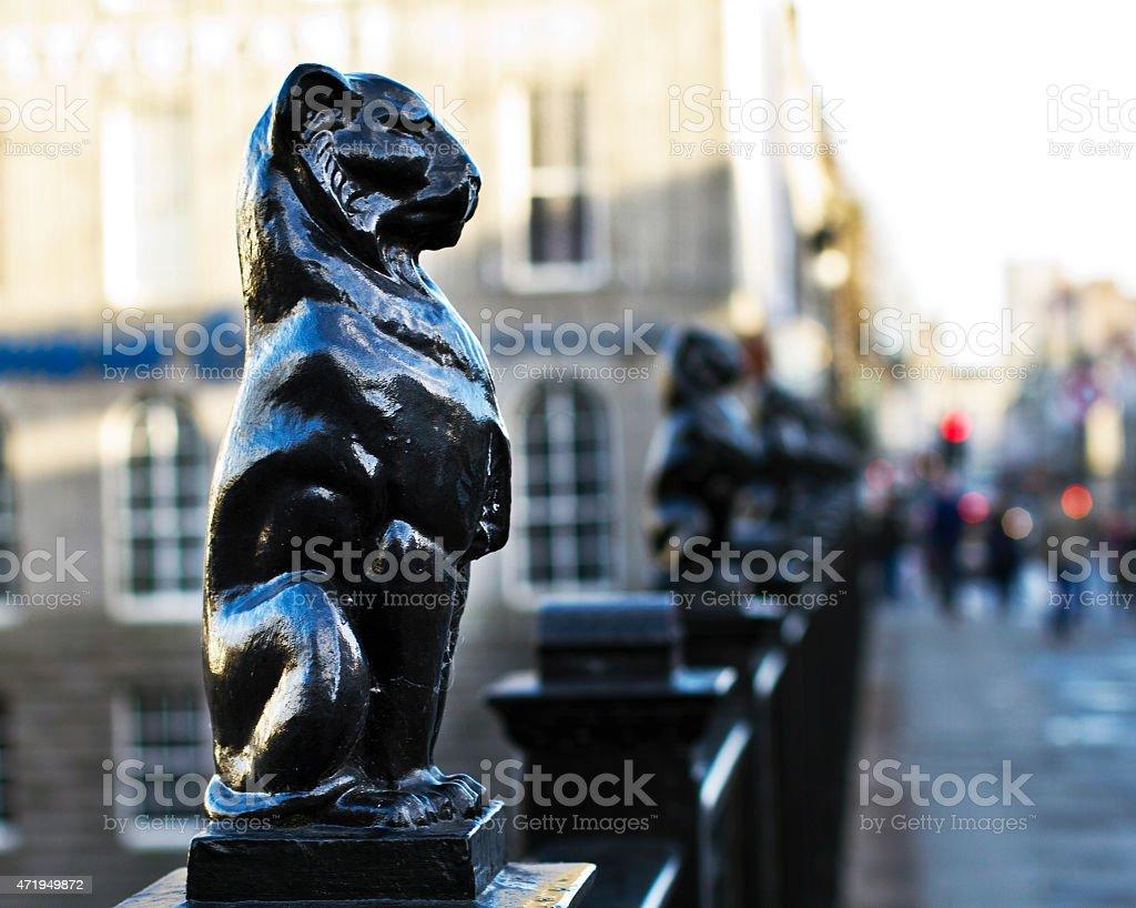 Kelly's Cat (cast iron leopard) Union Street Bridge, Aberdeen stock photo