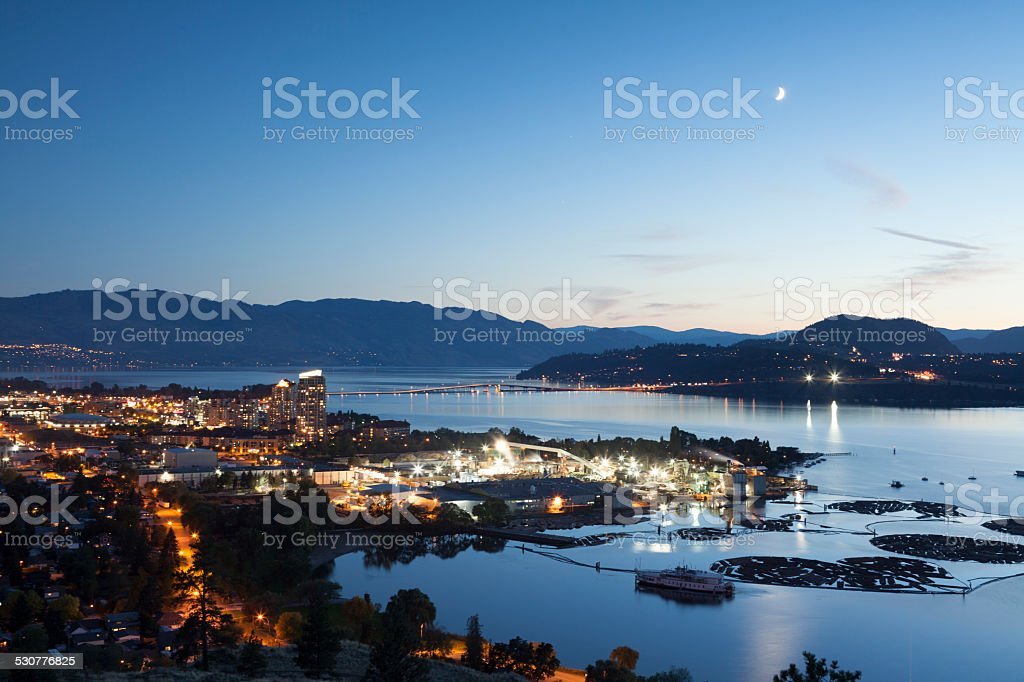 Kelowna at Night Okanagan Lake British Columbia stock photo