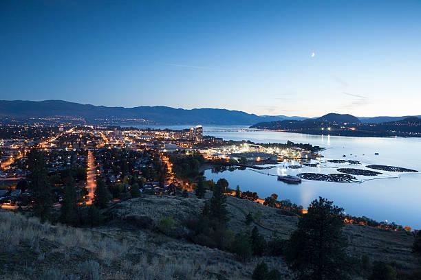 Kelowna at Night Okanagan Lake British Columbia stock photo