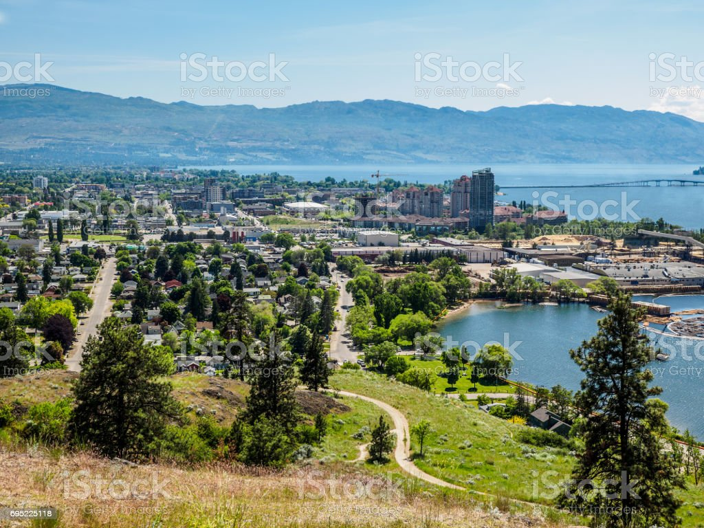 Kelowna, British Columbia, Canada, on the Okanagan lake, city view from mountain overlook stock photo
