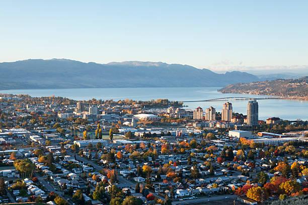 Kelowna British Columbia, Okanagan Knox Mountain early morning sunrise stock photo