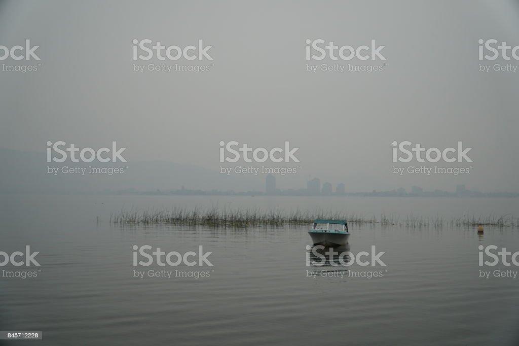 Kelowna withe Forest Fire Smoke stock photo
