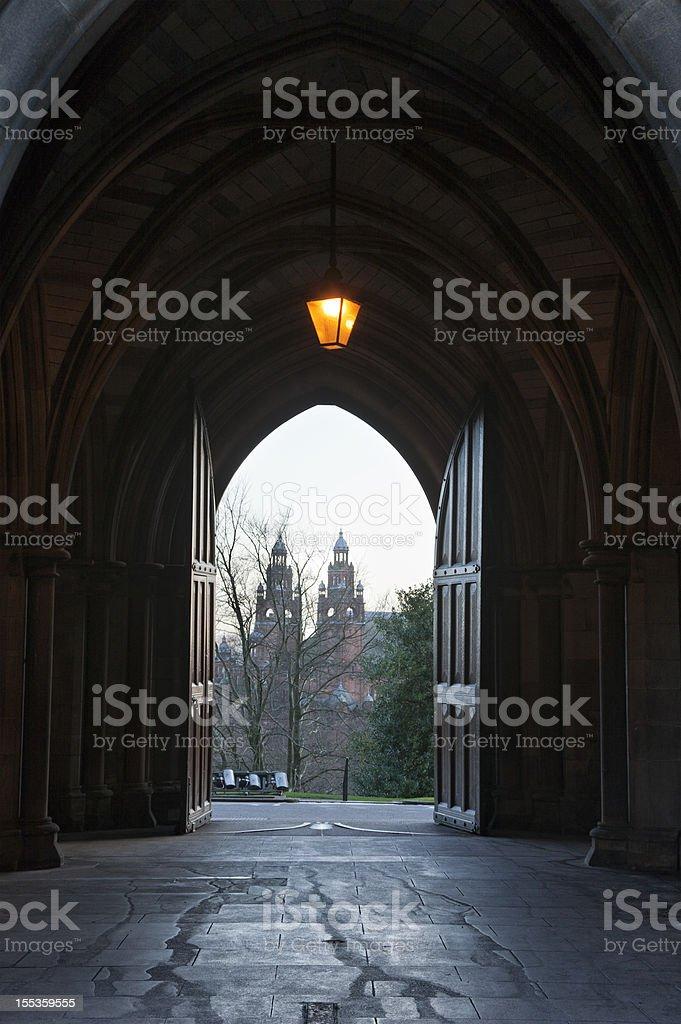 Kelvingrove Museum from Glasgow University stock photo
