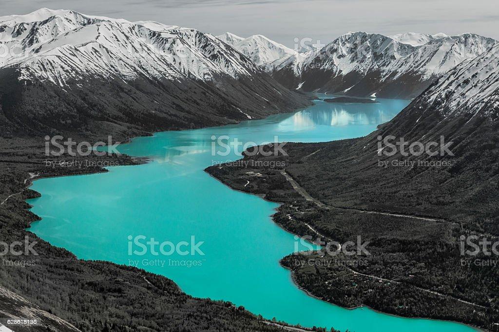Kenai Lake from Slaughter Ridge in Cooper Landing, Alaska. stock photo