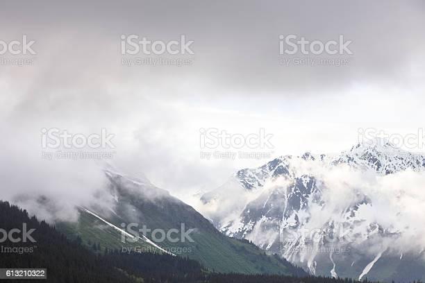 Kenai Mountain Range Peaks Treeline Fog Mist