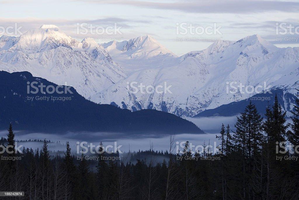 Kenai Mountains Over Foggy Bottom stock photo