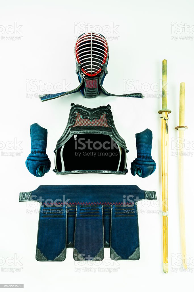 Kendo - armor and equipment  with shinai and wooden sword. stock photo