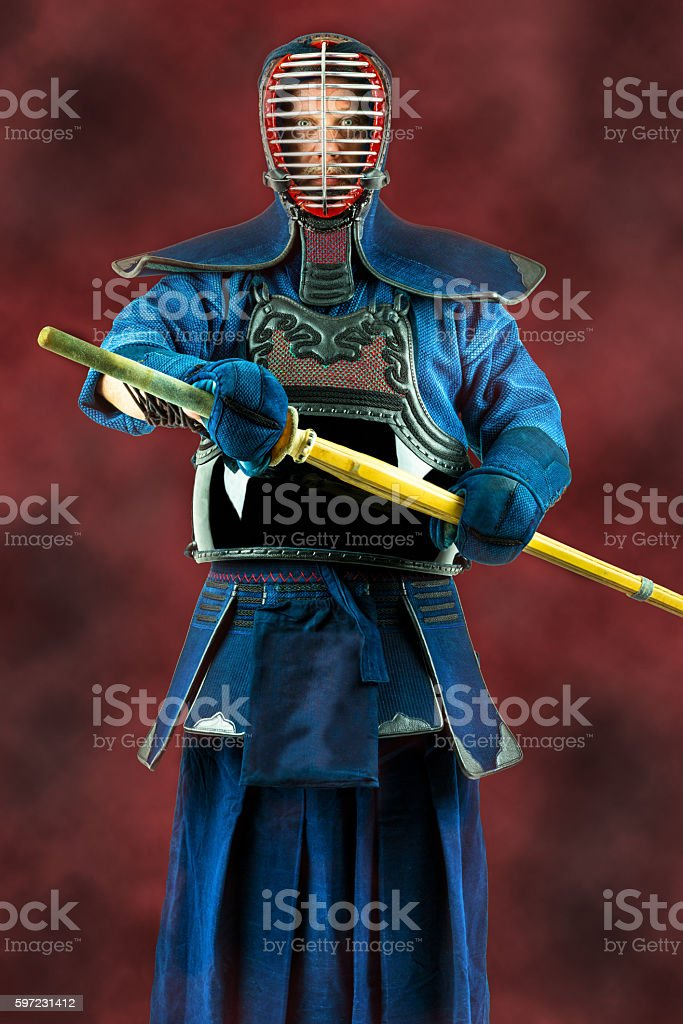 Kendo - Kendoka in full armor and bamboo sword. stock photo