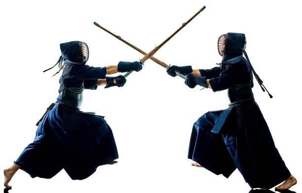 Kendo-Martial-Arts-Kämpfer silhouette isoliert white background – Foto