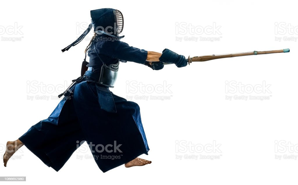 Kendo martial arts fighters silhouette isolated white bacground stock photo