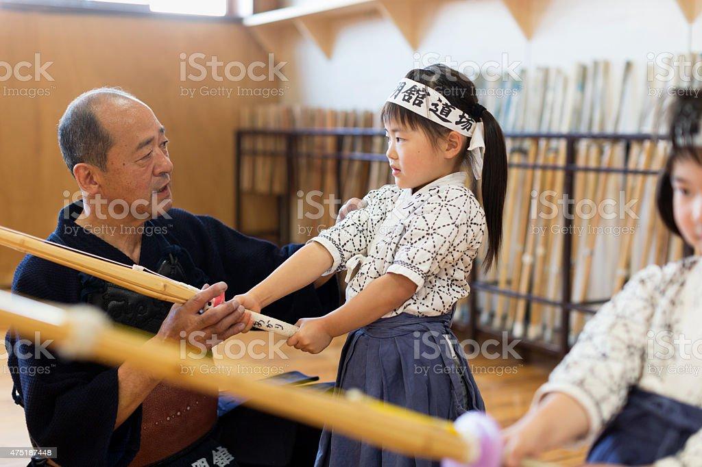 Kendo Teacher & Students stock photo