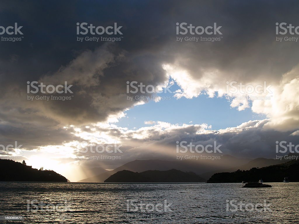 Kenepuru Sound at sunset stock photo